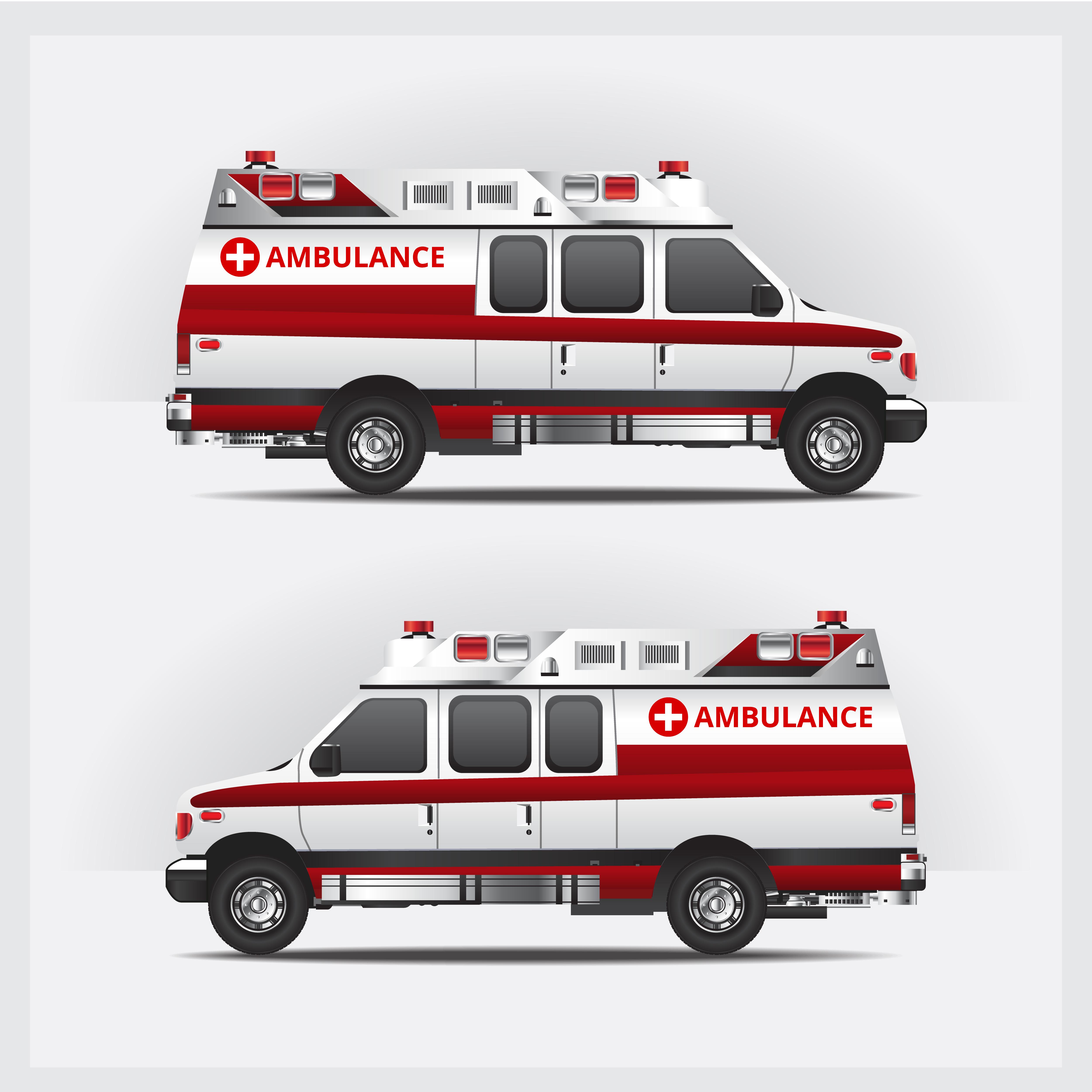 Ambulance Service Car Isolated Vector Illustration