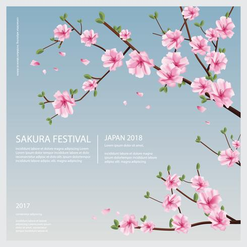 Japan Sakura Flower mit blühender Blumen-Vektor-Illustration