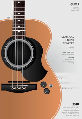 Illustration vectorielle de guitare concert affiche fond modèle vecteur