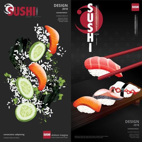 Cartel de sushi restaurante ilustración vectorial vector