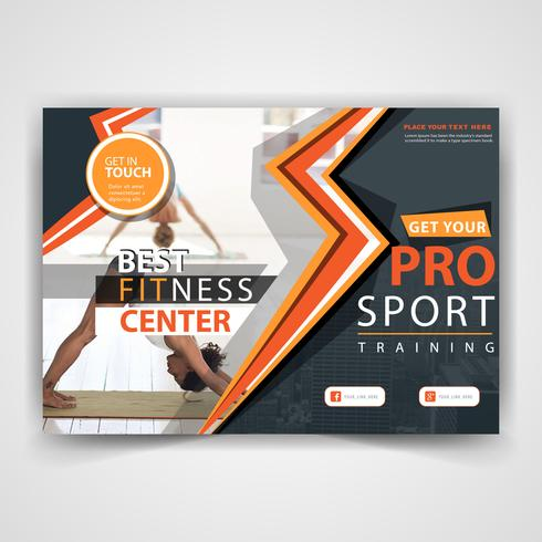 abstract fitness flyer template vector