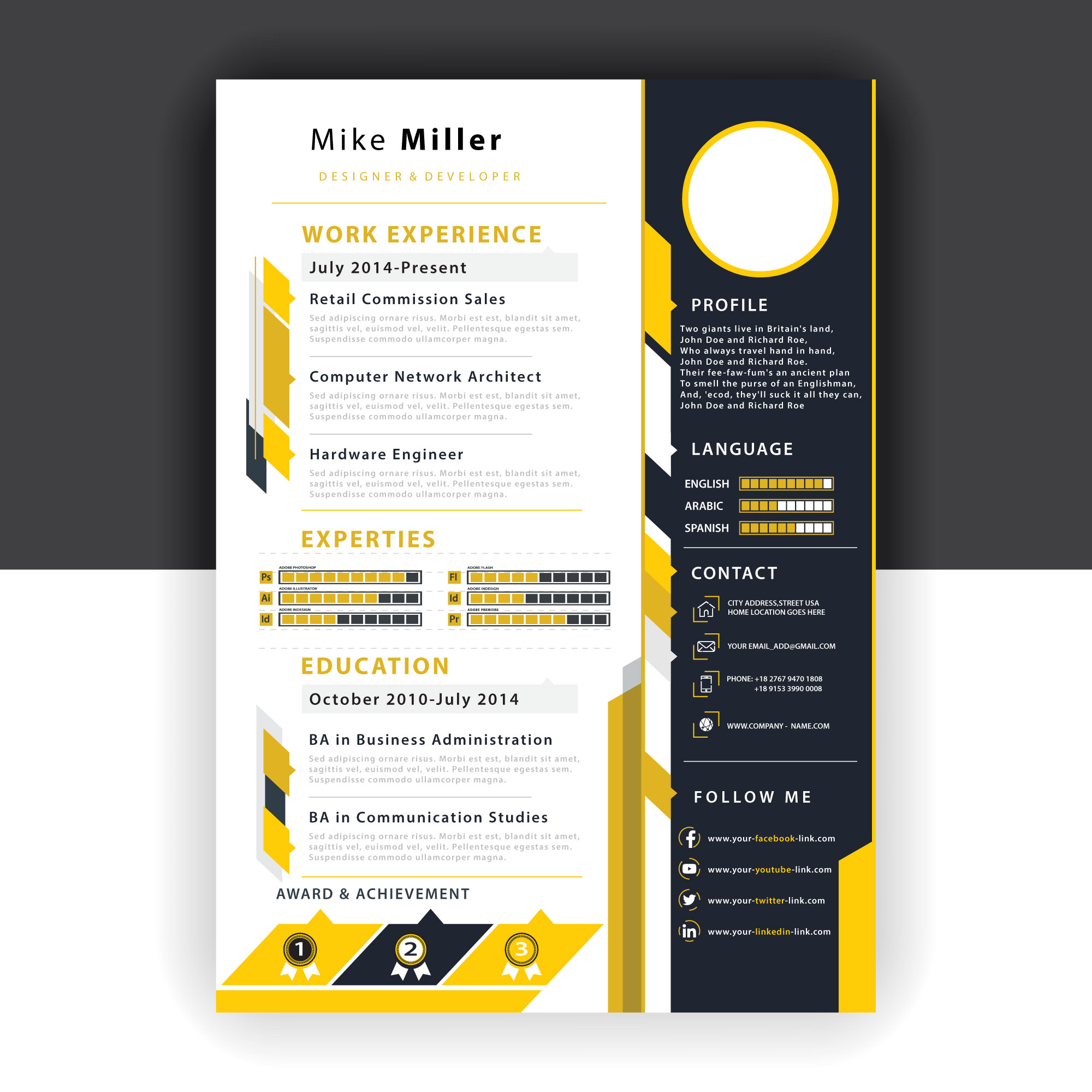 yellow resume template
