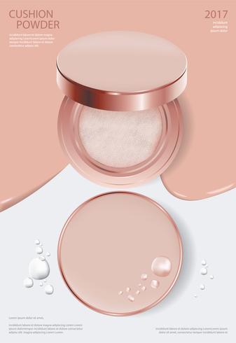 Makeup Pulver Kudde Affischmall Vektor Illustration