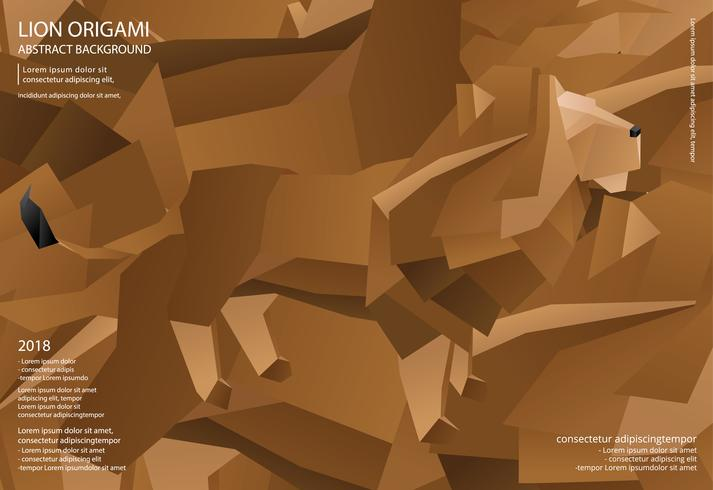 Lion Origami Abstract Background Vector Illustration