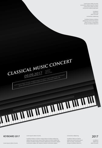 Musik Grand Piano Poster Bakgrundsmall Vektor illustration