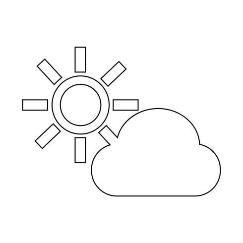 icono de sol de nube vector