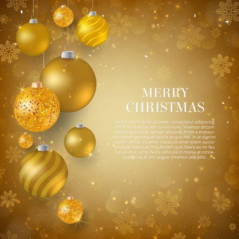 Fondo de Navidad con adornos de Navidad de oro. Elegante fondo navideño con bolas de brillo dorado. vector