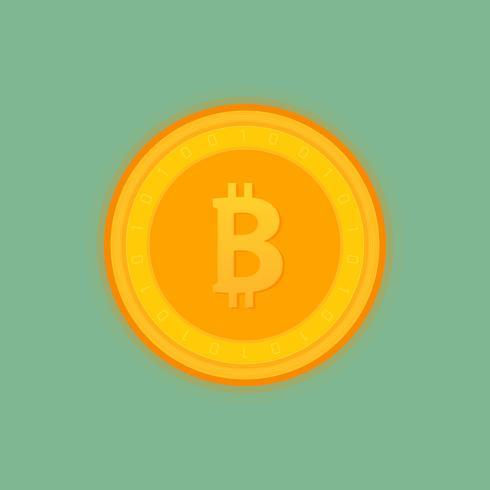 Bitcoin gouden munt. Geïsoleerde gedetailleerde vectorillustratie.