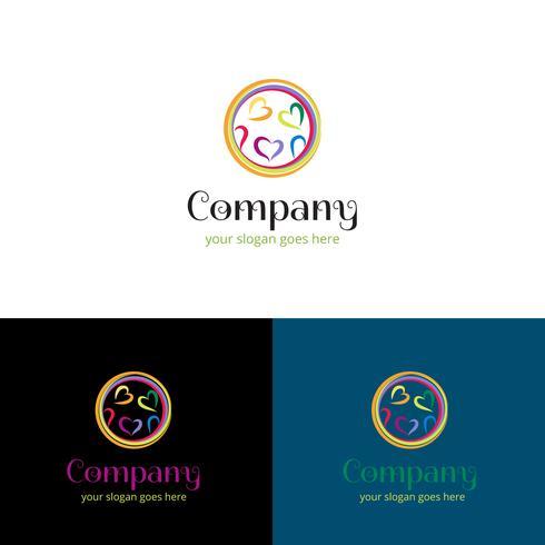 Design logo astratto cuore. Cuori multipli all'interno di un design del logo del cerchio