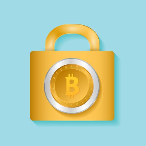 Pièce de monnaie bitcoin verrouillée. Concept de design de vecteur de sécurité Bitcoin. illustration vectorielle de crypto-monnaie. Bitcoin sécurité, sécurité, sauvegarde, concept de protection. Pièce de monnaie crypto-monnaie, blockchain.