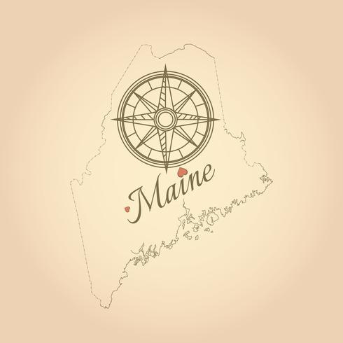 Vintage mapa de Maine, Estados Unidos con brújula vector