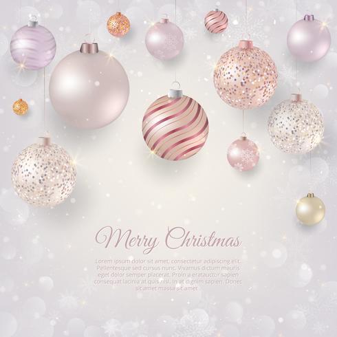 Fond de Noël avec des boules de Noël légères. Fond de Noël élégant avec des boules de soirée roses et blanches