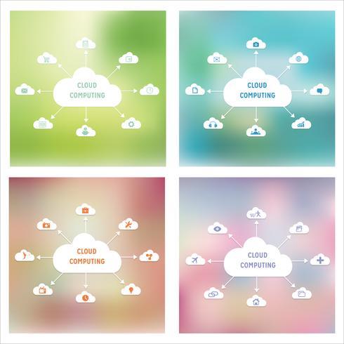 Vector cloud computing-technologie abstract schema