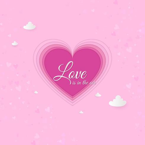 Cuore di arte di carta, carta di invito di amore. Fondo astratto di San Valentino. Nuvole, carta tagliata cuore rosa