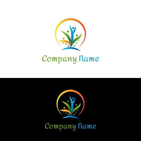 Kleurrijke mensen logo-ontwerp. Mensen die een boom logo sjabloon vormen.