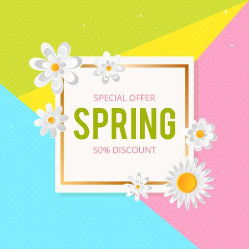 Spring Sale Background With Beautiful Colorful Flower Vector
