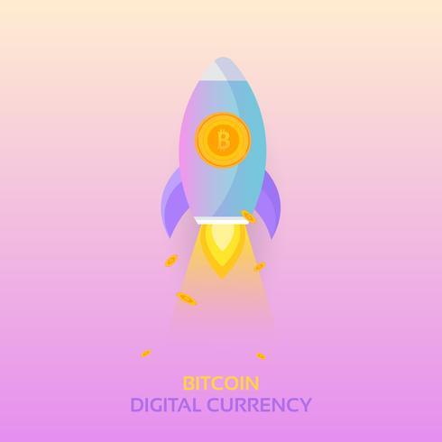Lancio di un missile Rocket Bitcoin. Vettore Crypto di Cryptocurrency Blockchain