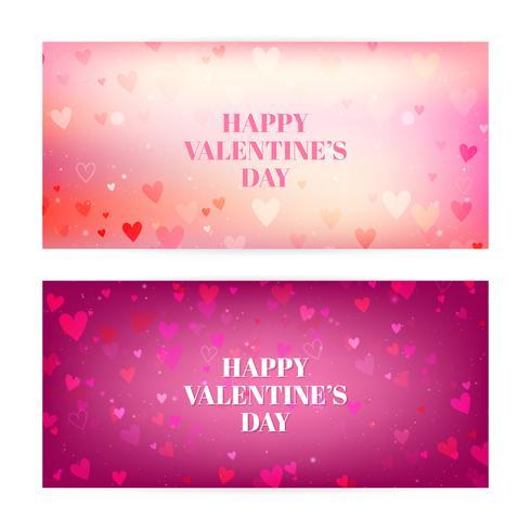 Alla hjärtans dag suddiga banderoller med hjärtan och bokeh