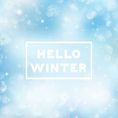 Hello winter blurred background. Christmas Snowflakes Blurred Background