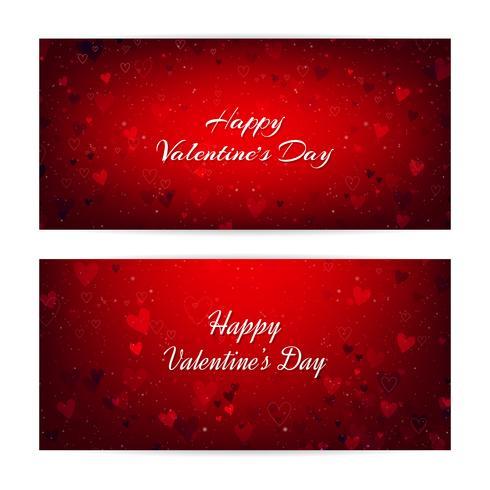 Día de San Valentín borrosa pancartas con corazones y bokeh vector