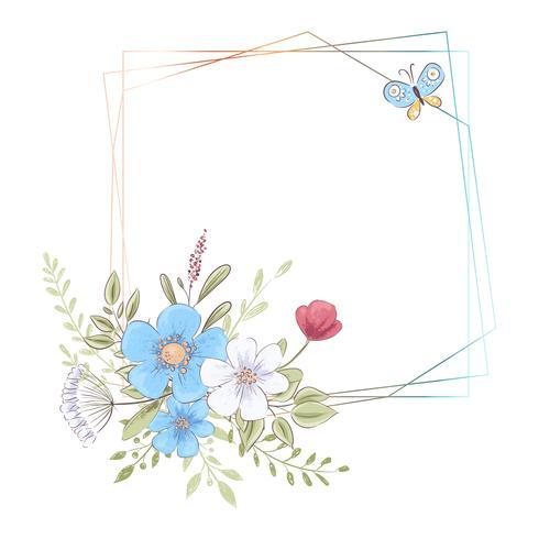 Plantilla de acuarela para una celebración de boda de cumpleaños con flores y espacio para texto. Dibujo a mano. Ilustración vectorial