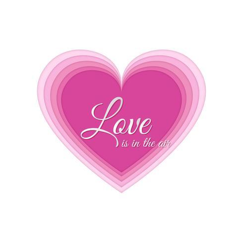 Coeur d'art de papier, carte d'invitation d'amour. Abstrait de la Saint-Valentin. Nuages, papier découpé coeur rose