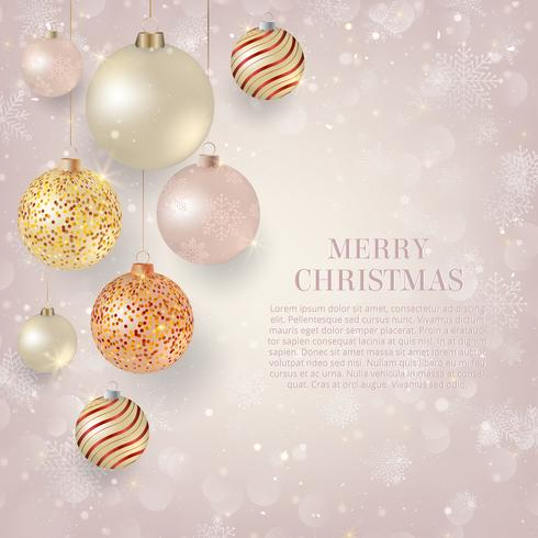 Christmas background with light Christmas baubles. Elegant Christmas background with gold and white evening balls
