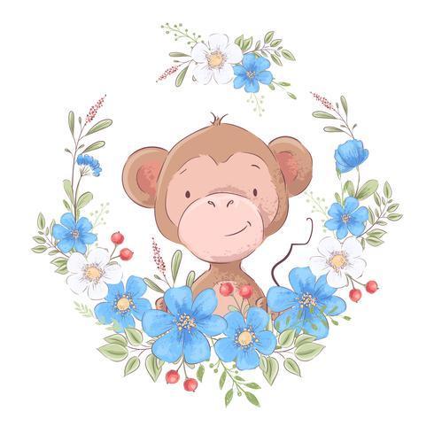 Illustrazione di una stampa per la stanza dei bambini vestiti carino scimmia in una corona di fiori blu.