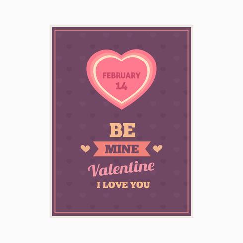 Tarjeta de feliz día de San Valentín, tipografía, fondo con corazones