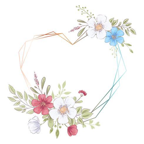 Plantilla de acuarela para una celebración de boda de cumpleaños con flores y espacio para texto. Dibujo a mano. Ilustración vectorial vector