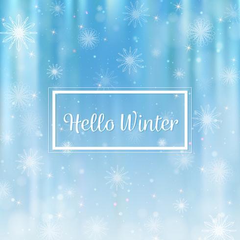 Hola invierno borrosa de fondo. Copos de nieve de navidad fondo borroso vector