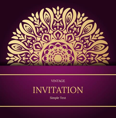 Elegant Save The Date card design. Vintage floral invitation card template. Luxury swirl mandala greeting card, gold, purple