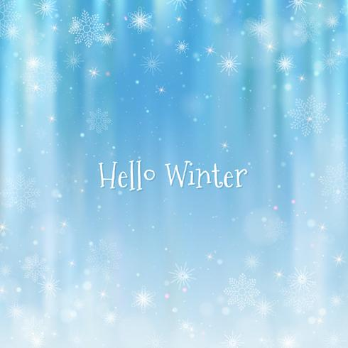 Hello winter blurred background. Christmas Snowflakes Blurred Background vector