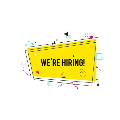 We're hiring symbol,  Business recruiting concept. Yellow hiring banner