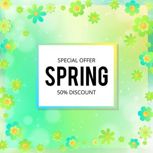 Banner de venda de primavera com flores de papel em um fundo amarelo e rosa