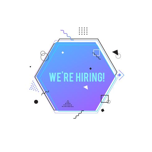 We're hiring symbol,  Business recruiting concept. Purple hexagon banner with geometric shapes vector