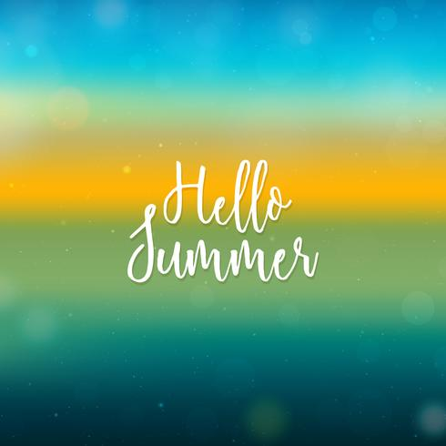 Blurred Hello Summer background, beach sunset