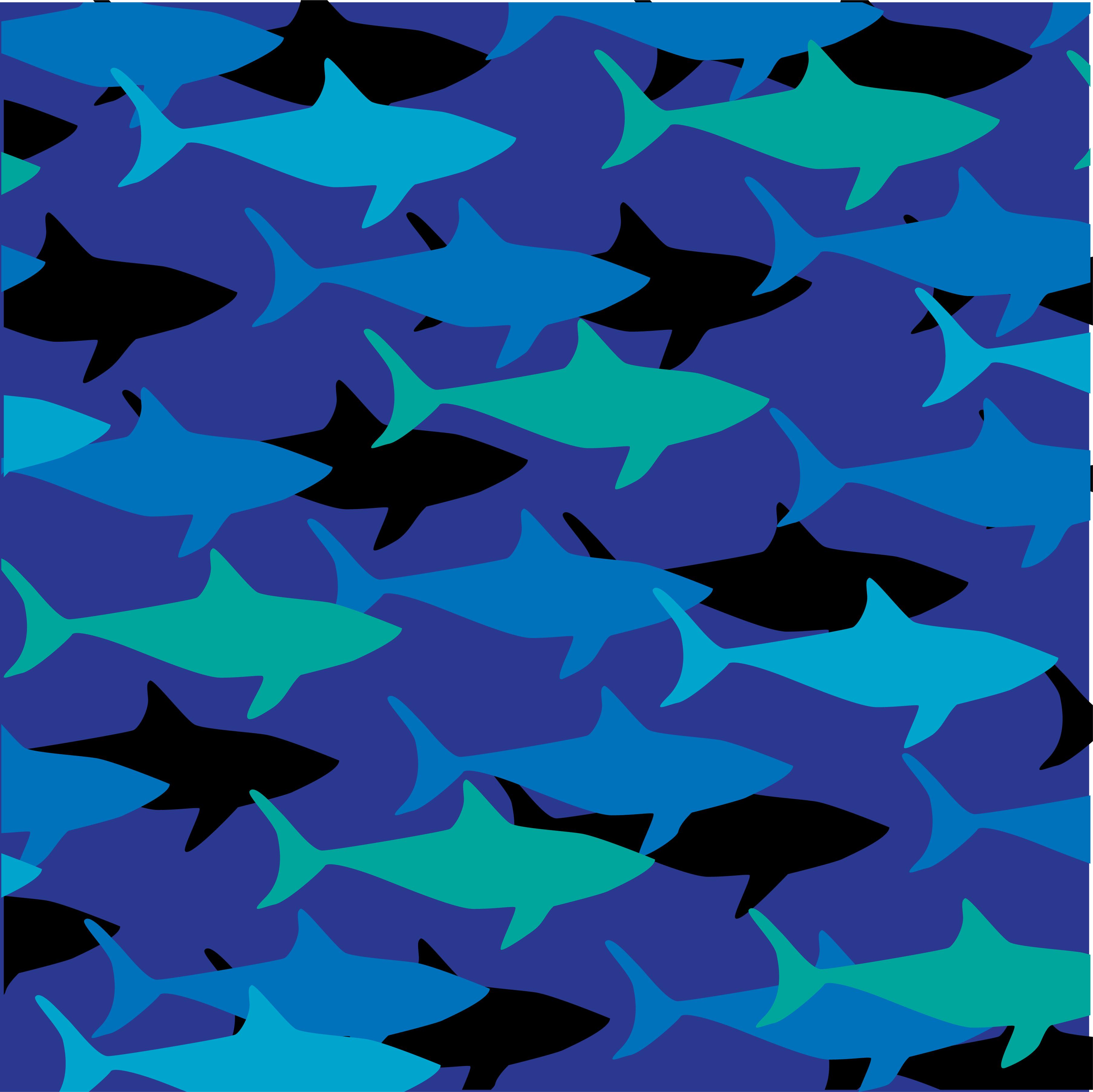 Beach Logo Vectors: Layered Shark Pattern On Blue Background 569979