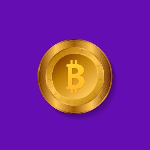 Bitcoin moneda de oro. Ilustración de vector detallado aislado