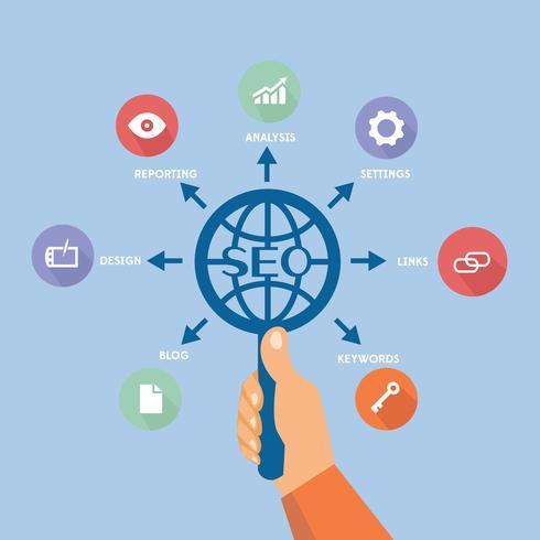 Esquema de proceso de SEO. Concepto de ilustración: mano humana con lupa y engranajes en diseño de estilo plano para presentación, folleto, sitio web y otros proyectos creativos. vector
