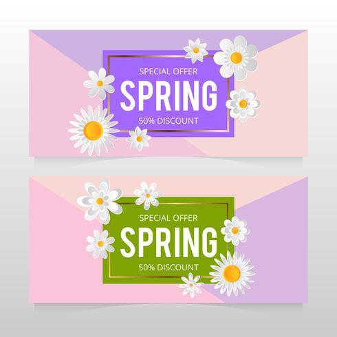 Banner de venta de primavera con hermosa flor colorida. Vector illustration template.banners.Wallpaper.flyers, invitación, carteles, folletos, cupones de descuento.