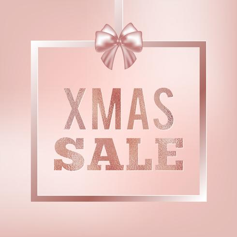 Banner di vendita di Natale glitter rosa. Segno di vendita di Natale. Cornice quadrata rosa con fiocco serico.