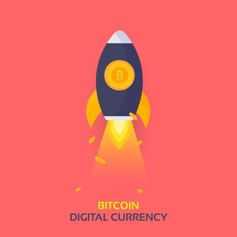 Bitcoin Rocket Ship Launching. Cryptocurrency Blockchain Crypto Vector