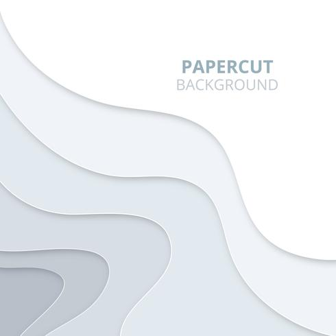 3D abstract background with light paper cut shapes. Papercut background vector