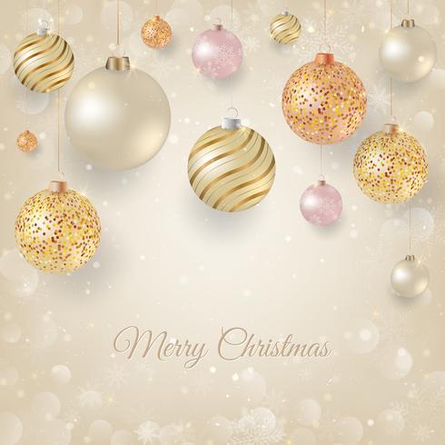 Weihnachtshintergrund mit hellem Weihnachtsflitter. Eleganter Weihnachtshintergrund mit Gold und weißen Abendkugeln