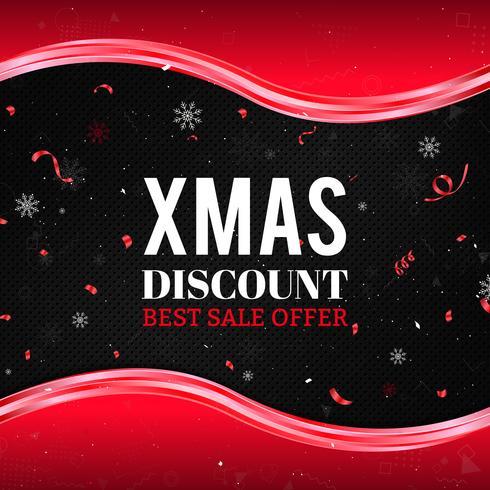 Fondo rosso di vendita di Natale con i fiocchi di neve, i coriandoli e le onde astratte