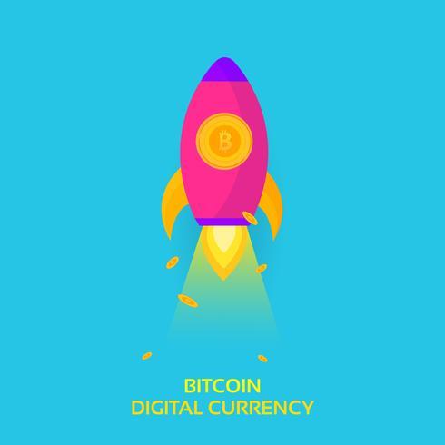 Bitcoin Rocket Ship Launching. Cryptocurrency Blockchain Crypto Vector