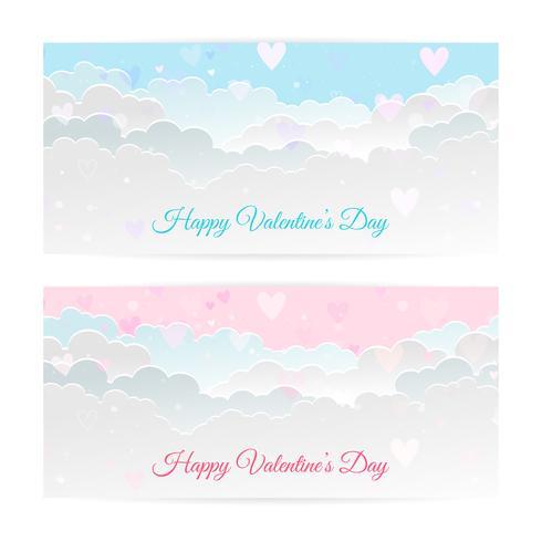 Bandiere di San Valentino, nuvole di arte di carta, cuori. Arte cartacea e stile artigianale.