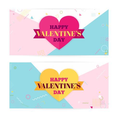 Bannières de la Saint-Valentin, nuages d'art papier, coeurs. Papier d'art et style artisanal. Art moderne, hipster