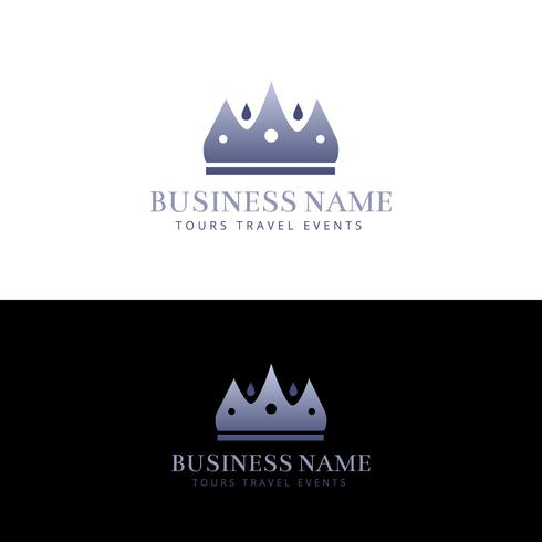 Diseño de logotipo abstracto corona púrpura vector